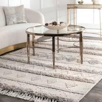 nuLOOM Handmade Flatweave Contemporary Wool Raised Tribal Stripes Tassel Ivory Rug (3' x 5') - 3' x 5'