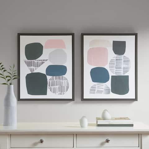 Urban Habitat Grey Rock Garden Gel Coat Framed Canvas 2-piece Set