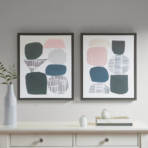 Urban Habitat Grey Rock Garden Gel Coat Framed Canvas 2-piece Set