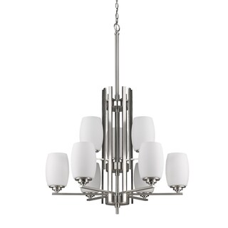 Acclaim Lighting Sophia Indoor 9-Light Satin Nickel Chandelier With Glass Shades