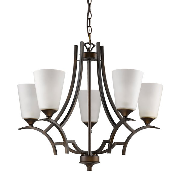 Acclaim Lighting Zoey Oil-rubbed Bronze Indoor 5-light Chandelier with White Glass Shades