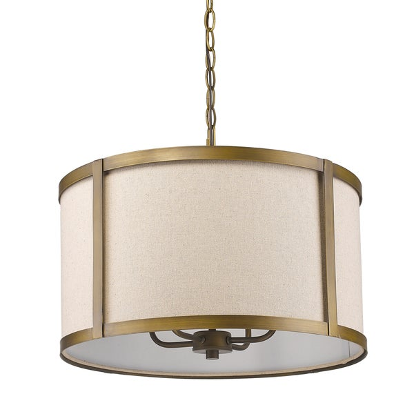 Acclaim Lighting Jessica Raw-brass-finished Steel 60-watt 4-light Indoor Pendant Light With Fabric D