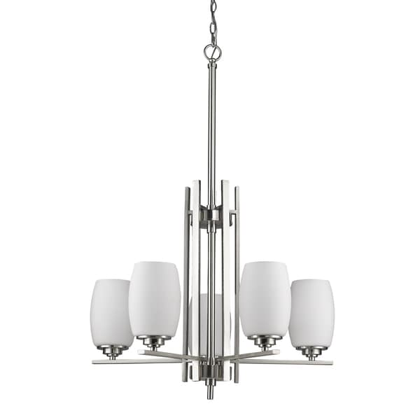 Acclaim Lighting Sophia Satin-nickel-finished Steel 100-watt 5-light LED Indoor Chandelier With White Opal Glass Shades