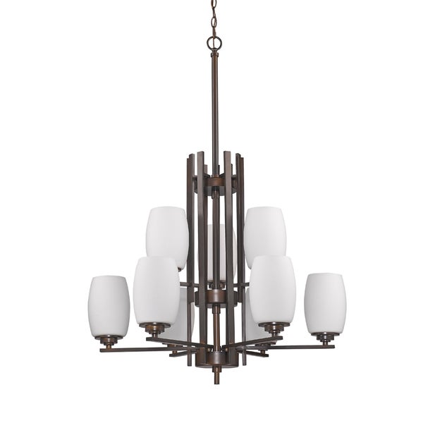 Acclaim Lighting Sophia Indoor 9-Light Oil-Rubbed Bronze Chandelier With Glass Shades