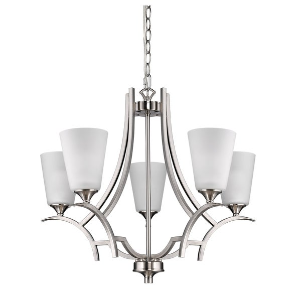 Acclaim Lighting Zoey Satin Nickel Steel Indoor 5-light Chandelier with Glass Shades