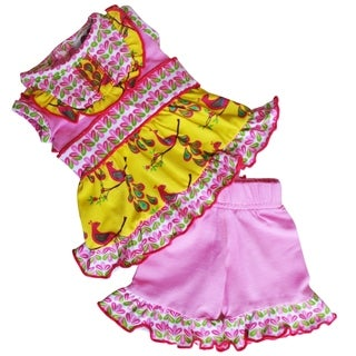 AnnLoren Pink Peacock 2 piece Outfit Dress and Capris for 18 inch Doll