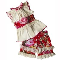 AnnLoren Red & Pink Floral Two piece Clothing set fits 18 inch Dolls