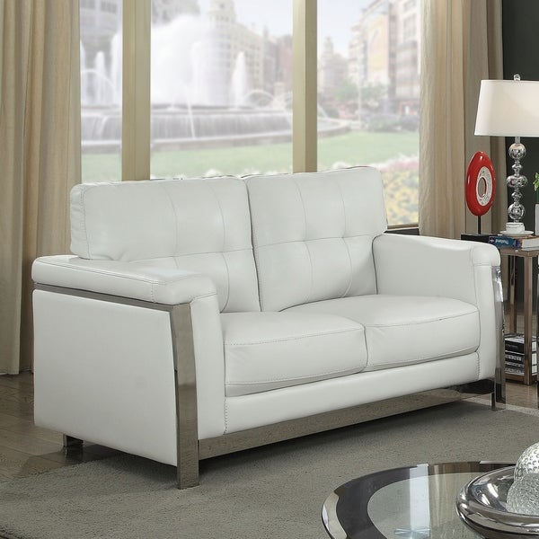 Furniture of America Nier Modern Faux Leather Tufted Padded Loveseat