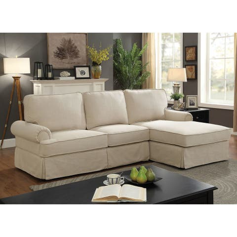 Furniture of America Rofi Transitional Linen Fabric Padded Sectional