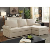 Furniture of America Sofie Transitional Rolled Arm Skirted L-Shaped Linen Sectional