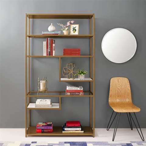 Avenue Greene Dixie Brass Geometric Bookcase Etagere