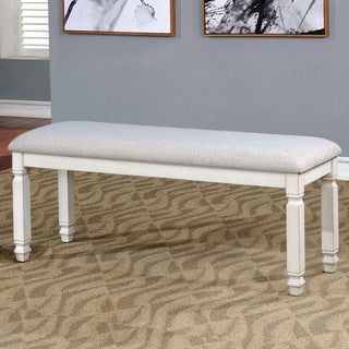 Furniture of America Aubrie Transitional Antique White Upholstered Dining sBench