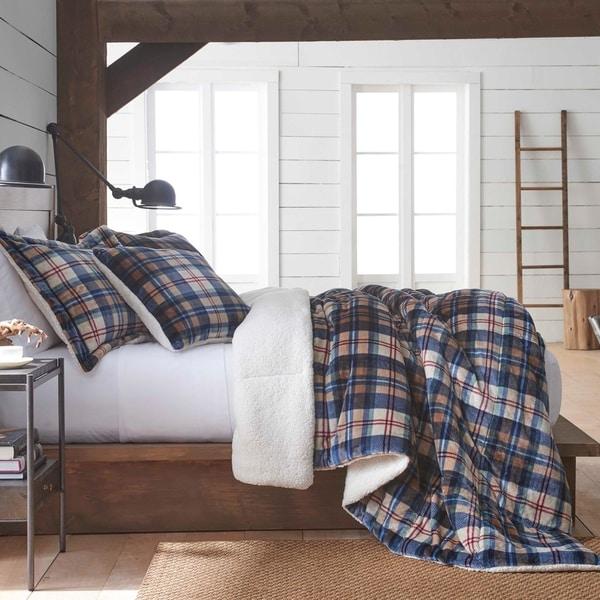 Shop Vellux Ethan Plush Sherpa Plaid Comforter Set Free