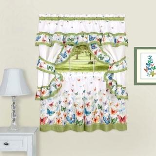 Butterflies Printed Cottage Window Curtain Set