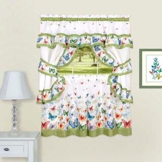 Butterflies Printed Cottage Window Curtain Set