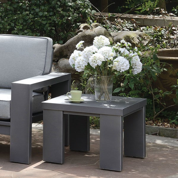 Furniture of America Luva Modern Grey Aluminum Outdoor End Table