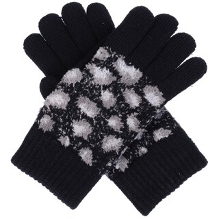 Winter Cute Wild Leopard Pattern Ultra Warm Soft Plush Faux Fur Fleece Lined Knit Gloves