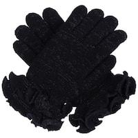 Womens Winter Ultra Warm Soft Plush Faux Fur Fleece Lined Knit Gloves W/ Decorated Cuff