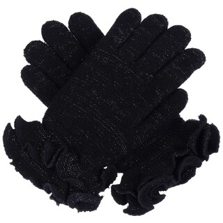 Womens Winter Ultra Warm Soft Plush Faux Fur Fleece Lined Knit Gloves W/ Decorated Cuff