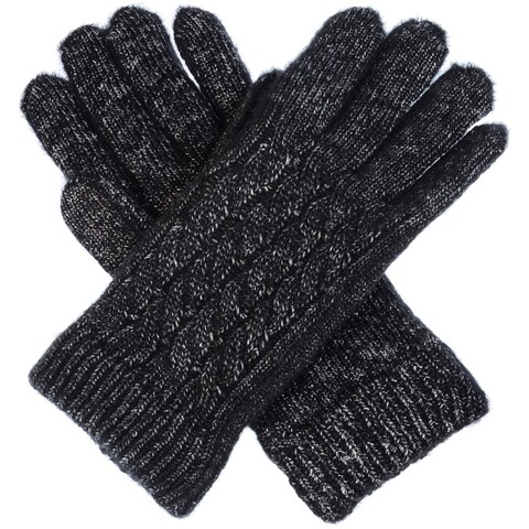 Women Winter Classic Cable Ultra Warm Soft Plush Faux Fur Fleece Lined Knit Gloves