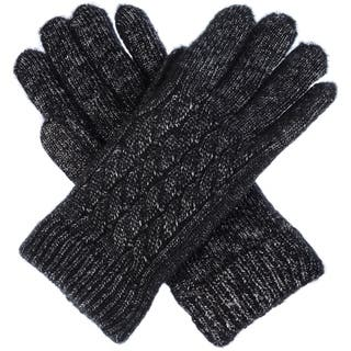 Women Winter Classic Cable Ultra Warm Soft Plush Faux Fur Fleece Lined Knit Gloves