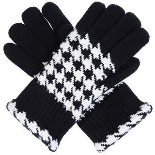 Women Cable Ultra Warm Soft Plush Faux Fur Fleece Lined Knit Gloves (Houndstooth)