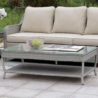 Furniture of America Peto Contemporary Grey Glass Top Coffee Table