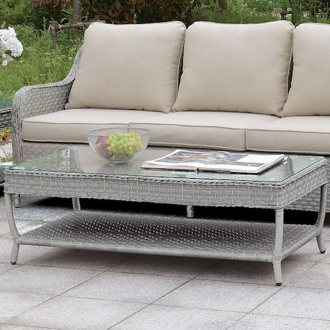Havenside Home Palmetto Contemporary Grey Coffee Table with Shelf