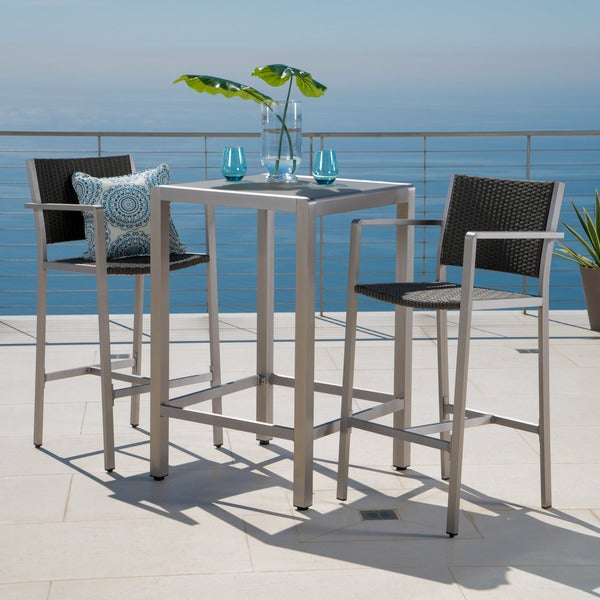 Cape Coral Outdoor 3-piece Bar Set with Glass Table Top by Christopher Knight Home. Opens flyout.