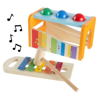 Wooden Bench Toy with Musical Xylophone and Interactive Pounding Hammer and Balls, Educational Toy by Hey! Play!