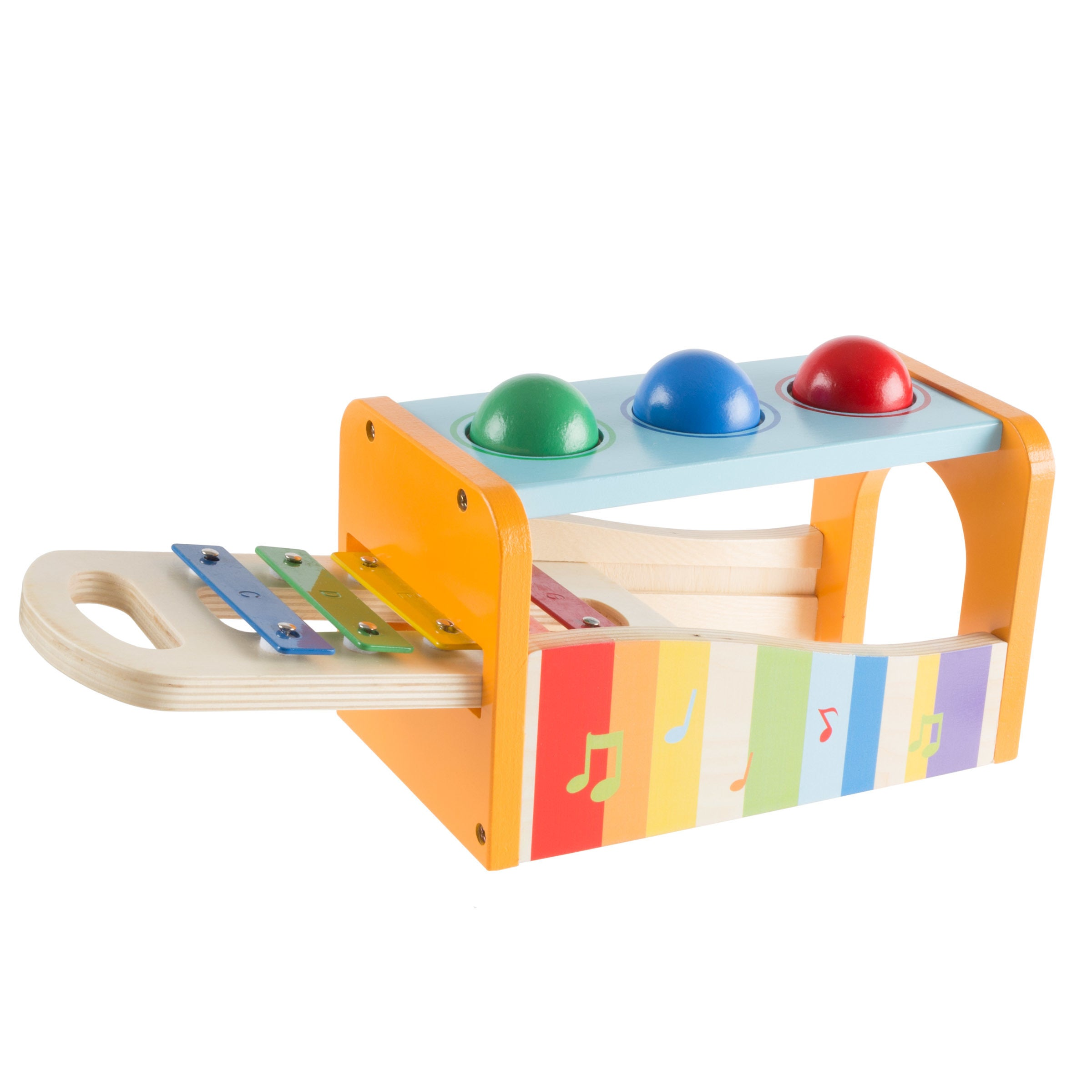 wooden bench toy with musical xylophone and interactive pounding hammer and  balls, educational toyhey! play!