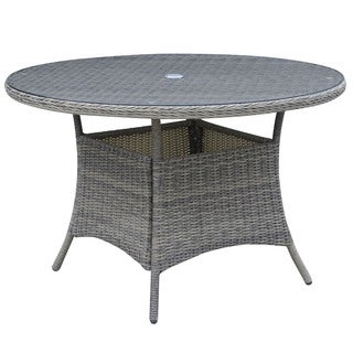 Furniture of America Lenka Contemporary Grey 47-inch Glass Patio Dining Table
