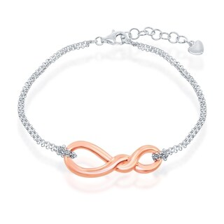 La Preciosa Sterling Silver or Rose Gold High Polish Plated Infinity Knot w/ Double Strand 7+1'' Bracelet (Option: Two-Tone)