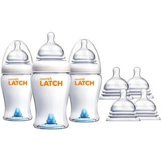 Munchkin Latch Anti-Colic 8 Ounce Baby Bottles with Replacement Stage 2 & 3 Bottle Nipples