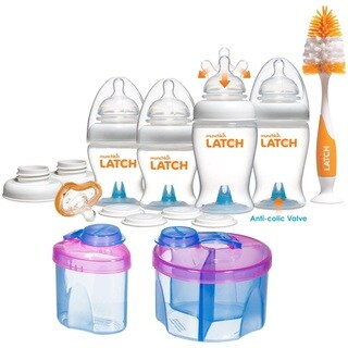 Munchkin Latch Newborn Bottle 12 Piece Gift Set with Formula Dispenser Combo Pack