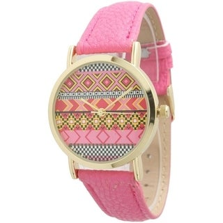 Olivia Pratt Aztec Print Watch Leather Strap