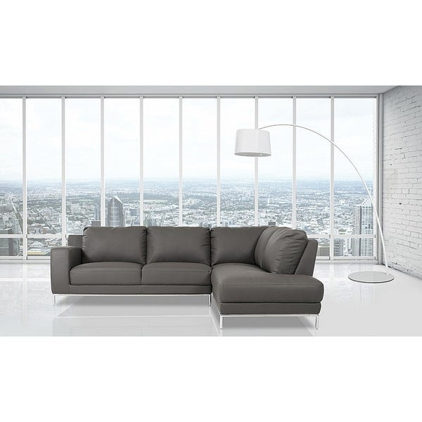 Shop Elmhurst Modern Dark Grey Leather Sofa with Right Facing Chaise ...