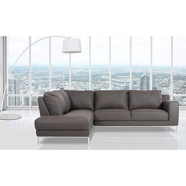 Elmhurst Modern Dark Grey Leather Sofa With Left Facing Chaise