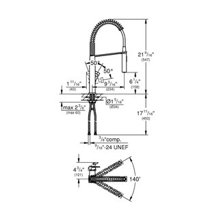 Grohe Eurocube Single-Handle Kitchen Faucet 31401000 Starlight Chrome