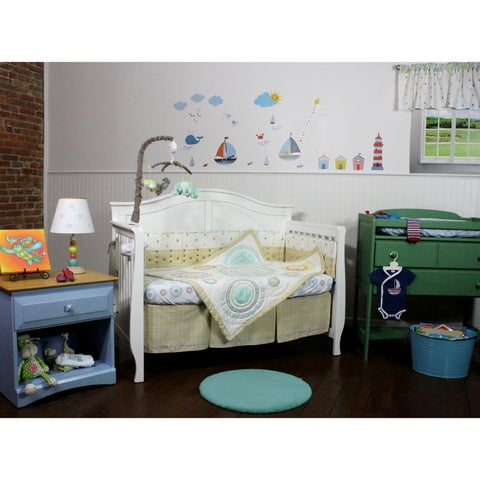 Tan Cut Dot Circles & Twill 4 Piece Nursery Bedding Set