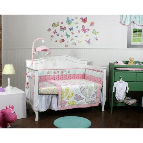 Aqua Accent Butterflies & Daisies 4 Piece Nursery Bedding Set