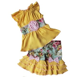 AnnLoren Yellow Floral Two piece Easter Clothing Set for 18 inch Doll