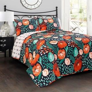 Lush Decor Poppy Garden 3 Piece Quilt Set