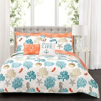Lush Decor Coastal Reef Feather 7 Piece Quilt Set