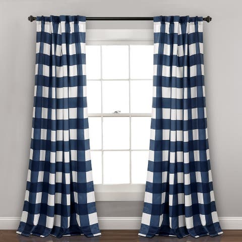 "Lush Decor Kelly Checker Room Darkening Window Curtain Panel Pair - 52""W x 84""L"