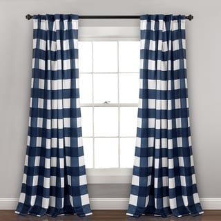 "Lush Decor Kelly Checker Room Darkening Window Curtain Panel Pair - 52""W x 84""L"