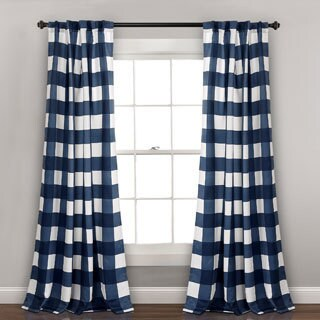 Lush Decor Kelly Checker Room Darkening Window Curtain Panel Pair