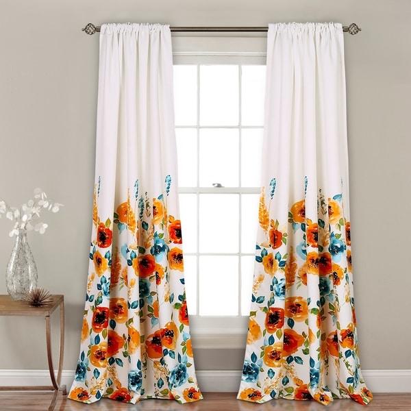 "Lush Decor Percy Bloom Room Darkening Window Curtain Panel Pair - 52""W x 84""L"