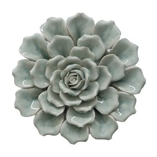 Three Hands Blue Ceramic Flower Wall Decoration