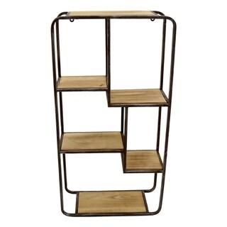 Three Hands Wood/Metal Wall Shelf